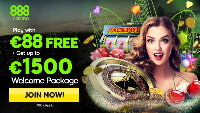 Huge €88 Freeplay and €1500 Welcome Package At 888 Casino