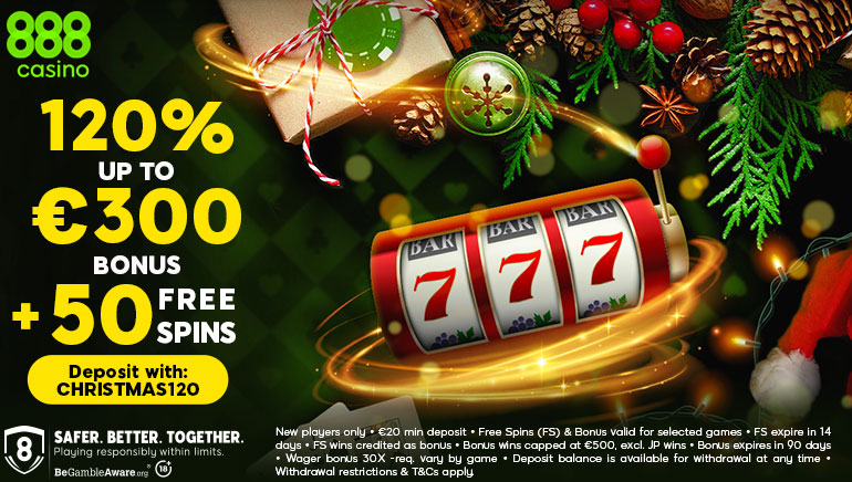 888casino Offering a 120% Christmas Bonus & 50 Free Spins