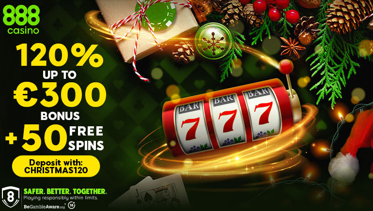 888 Casino's Holiday Promo Treats New Players to a 120% Deposit Bonus + 50 Spins