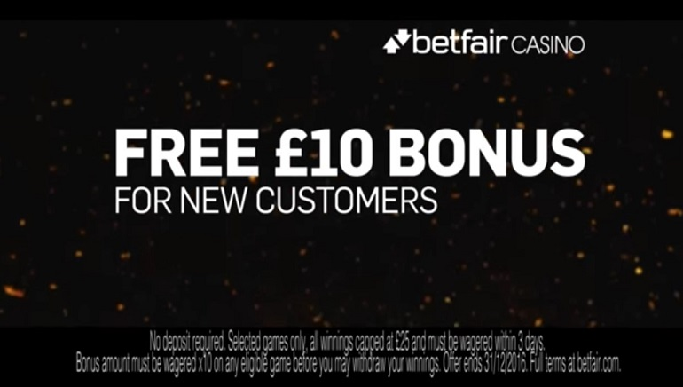 Betfair Casino Showcases £10 No Deposit Offer in New TV Ad